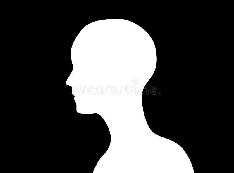 Sidosikt av för för symbolsform eller profil för mänskligt huvud isolaten för kontur royaltyfri illustrationer