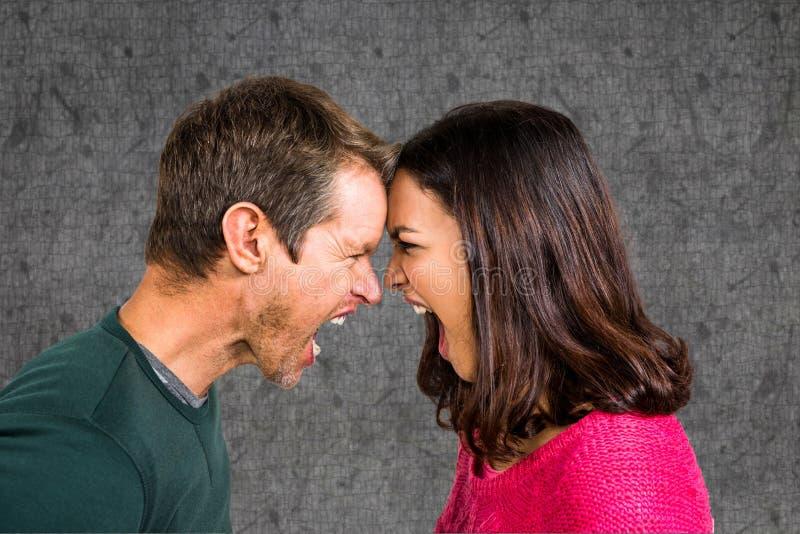 Sidosikt av par som ropar, medan slåss mot grå bakgrund arkivfoton