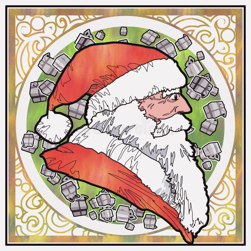 Sidosikt av Santa Claus med grafisk modellbakgrund stock illustrationer