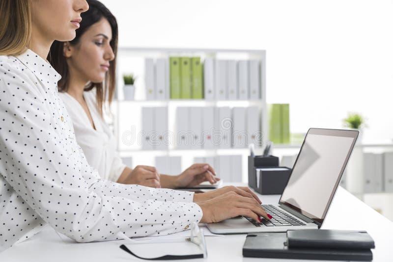 Sidosikt av två kvinnor i ett vitt kontor som tillsammans arbetar royaltyfri bild