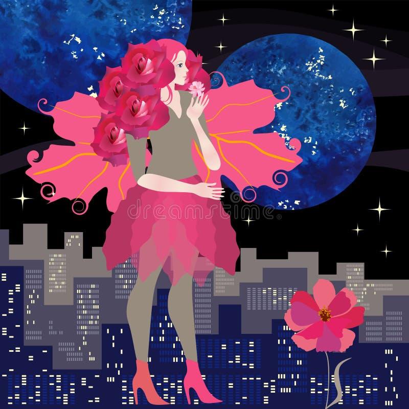 Sidosikt av unga flickan med hår som klipps i form av buketten av karmosinröda rosor och vingar av viburnumsidor stock illustrationer