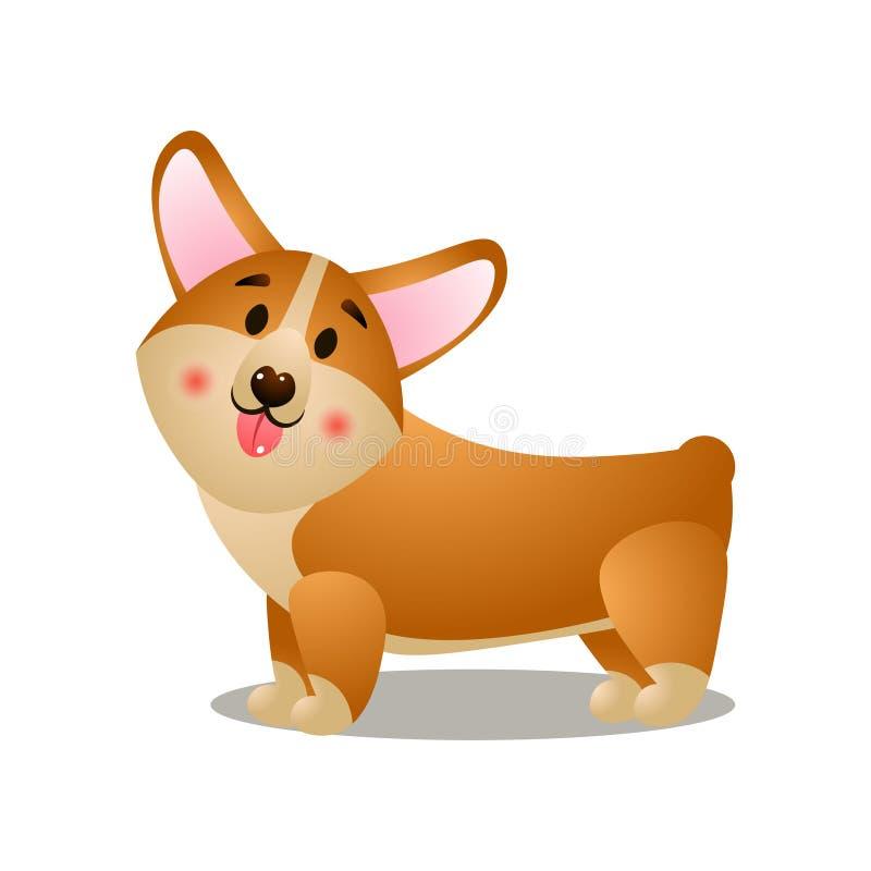 Sidosikt av visningen och att le för corgihund till ägaren stock illustrationer
