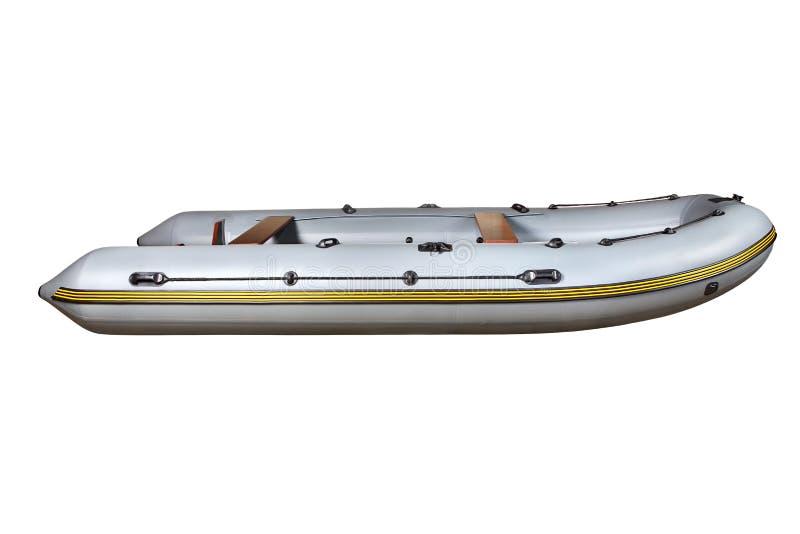 Sidosikt på den gråa uppblåsbara jollePVCEN för rubber fartyg. arkivfoton