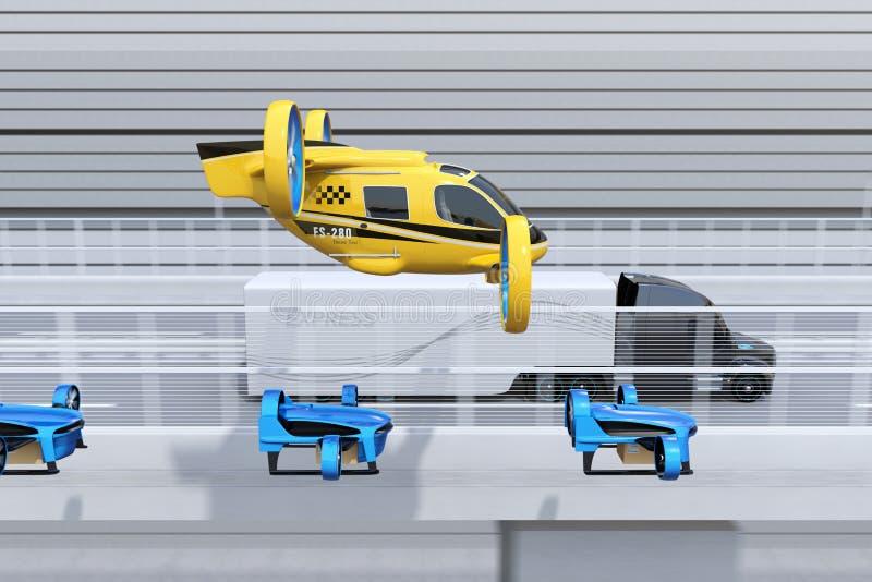 Sidosikten av den gula passageraresurrtaxien, flotta av leveransen surrar flyg tillsammans med lastbilen som kör på huvudvägen royaltyfri illustrationer