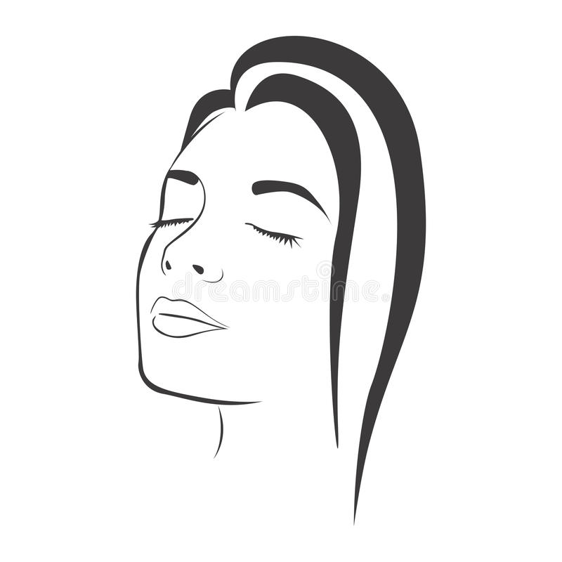 sidosikten skissar den kvinnliga framsidakonturn stock illustrationer