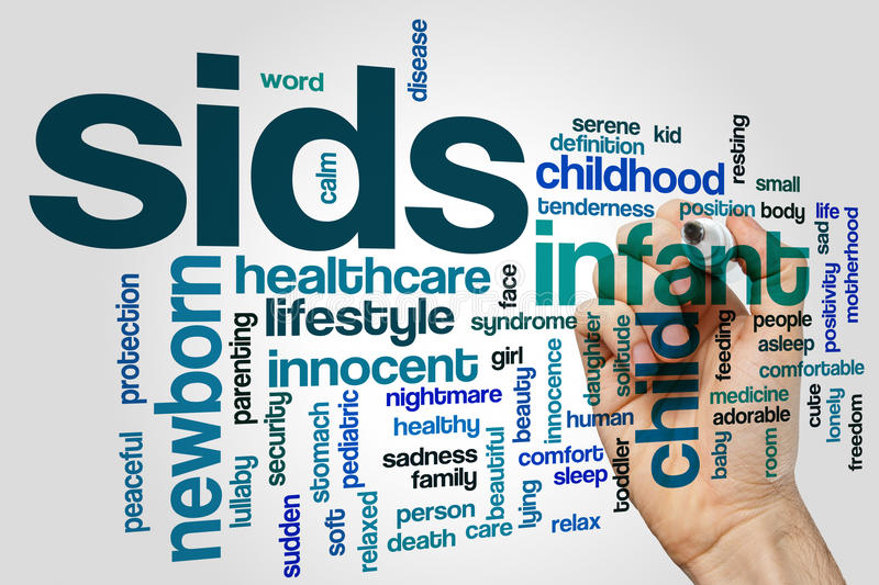 Sids word cloud. Concept on grey background royalty free stock images
