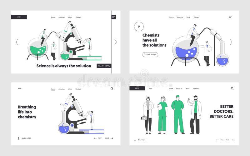 Siduppsättning för Kemikalie och medicin Vetenskapsmän som utför experiment vid forskningslaboratorier Läkare stock illustrationer