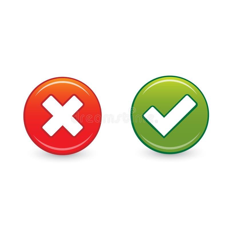 Sieć guziki: Zielona czek ocena, czerwony krzyż i ilustracja wektor