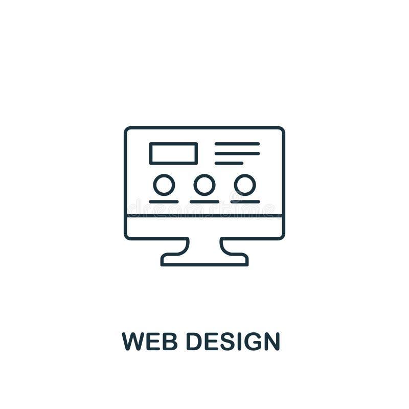 Sieć projekta ikona Cienki konturu styl od projekta ux i ui ikon inkasowych Kreatywnie sieć projekta ikona dla sieć projekta royalty ilustracja