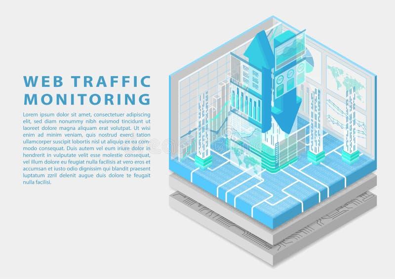 Sieć ruchu drogowego monitorowanie pojęcie z symbolem spławowe strzały i różnorodne monitorowanie deski rozdzielcze upload i ścią royalty ilustracja