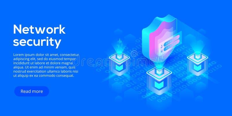 Sieć dane ochrony isometric wektorowa ilustracja Online serv ilustracja wektor