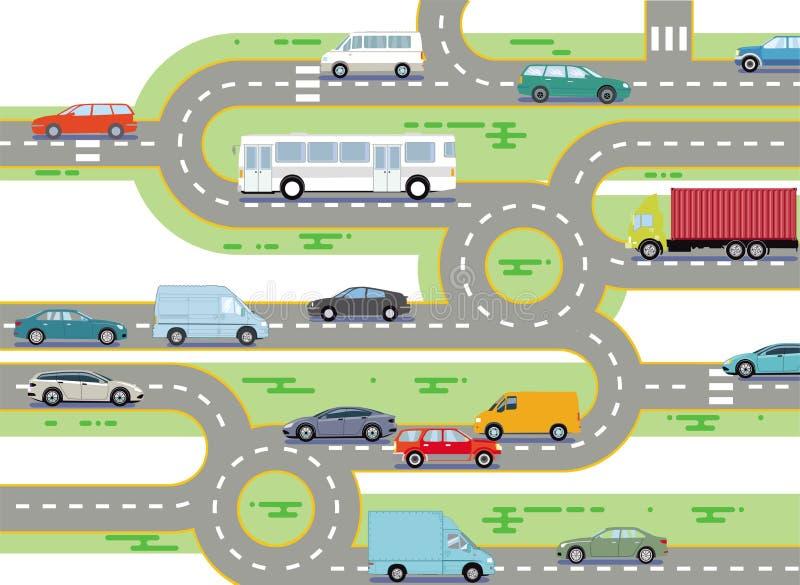 Sieć drogowa i ruch drogowy ilustracja wektor