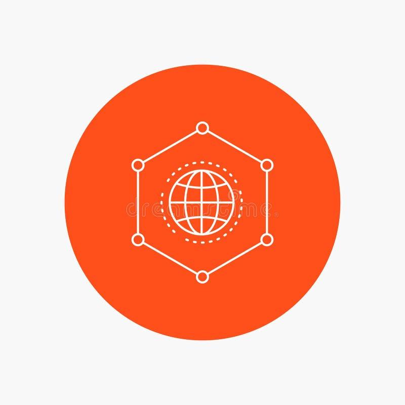 Sieć, Globalna, dane, związek, Biznesowa Białej linii ikona w okręgu tle Wektorowa ikony ilustracja ilustracja wektor