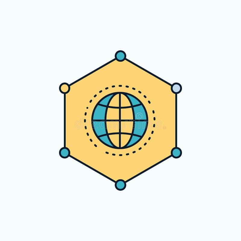 Sieć, Globalna, dane, związek, Biznesowa Płaska ikona ziele?, kolor royalty ilustracja