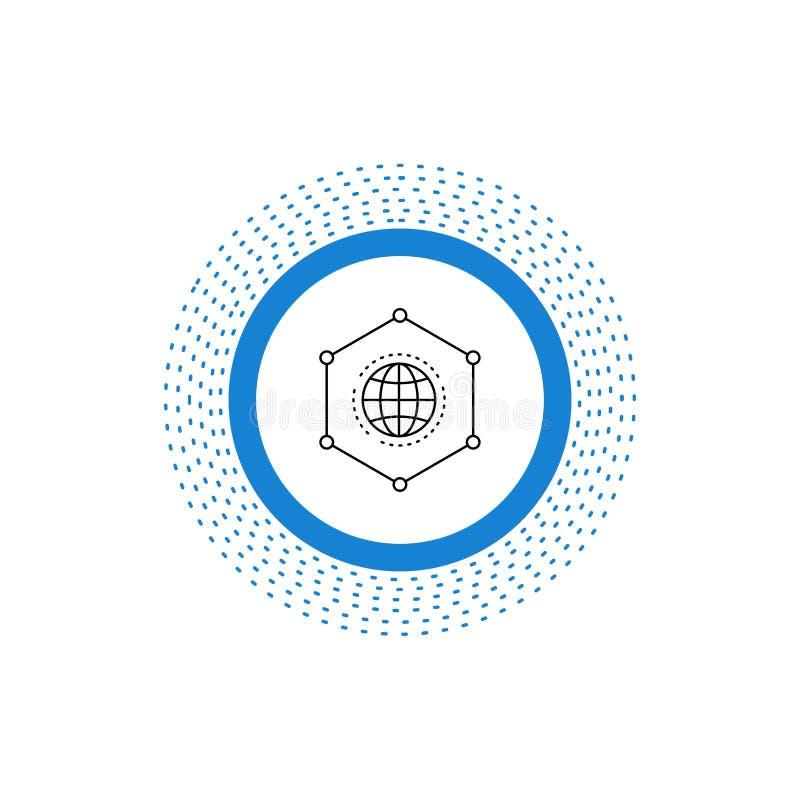 Sieć, Globalna, dane, związek, Biznesowej linii ikona Wektor odosobniona ilustracja ilustracja wektor