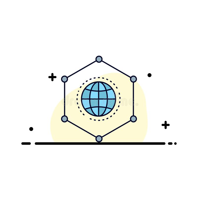 Sieć, Globalna, dane, związek, Biznesowy Płaski kolor ikony wektor ilustracja wektor