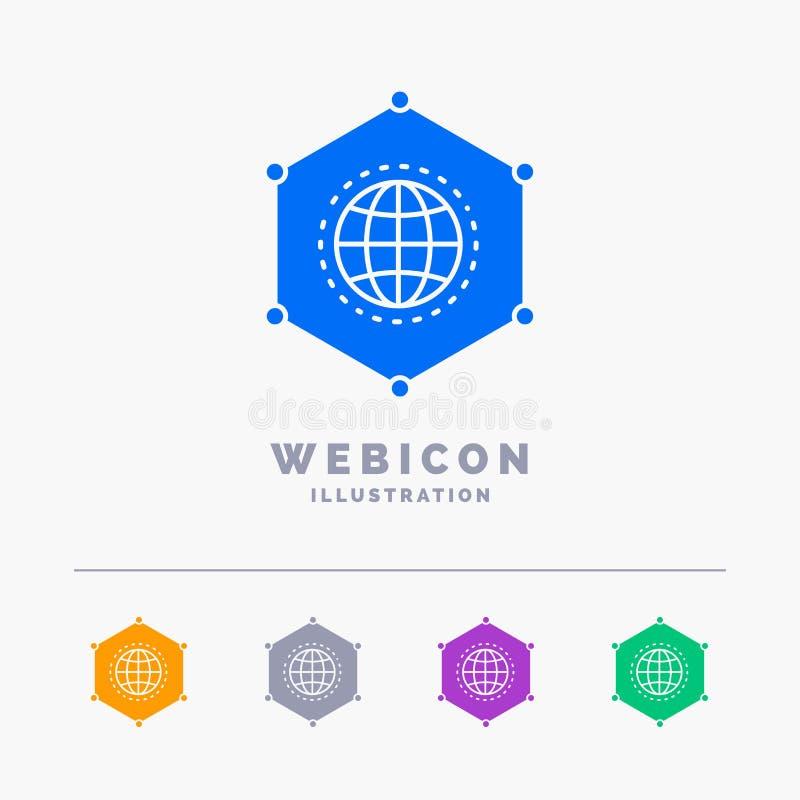 Sieć, Globalna, dane, związek, biznesu 5 koloru glifu sieci ikony szablon odizolowywający na bielu r?wnie? zwr?ci? corel ilustrac royalty ilustracja
