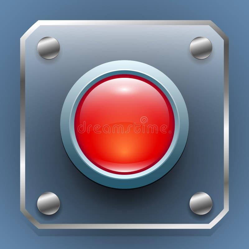 Sieć guzik szklany czerwony guzik na przejrzystym panelu z metal ramą ilustracji