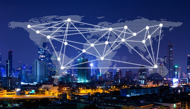 Sieć i światowa mapa na mieście, networking pojęciu, komunikaci, technologii i sieć związku pojęcie obrazy stock