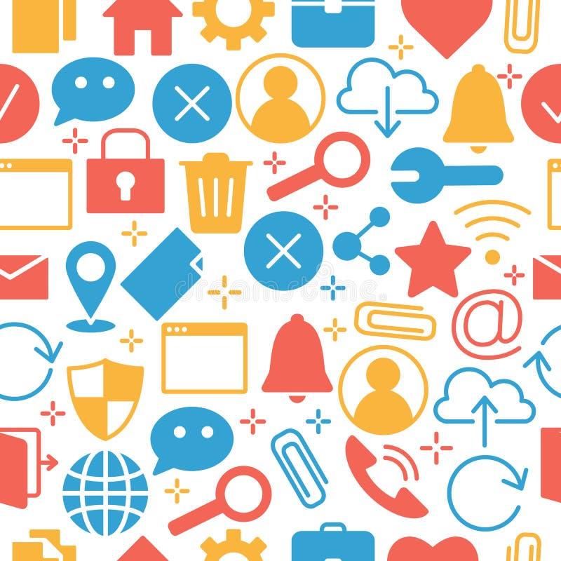 Sieć i komputerowe podstawowe ikony ilustracja wektor