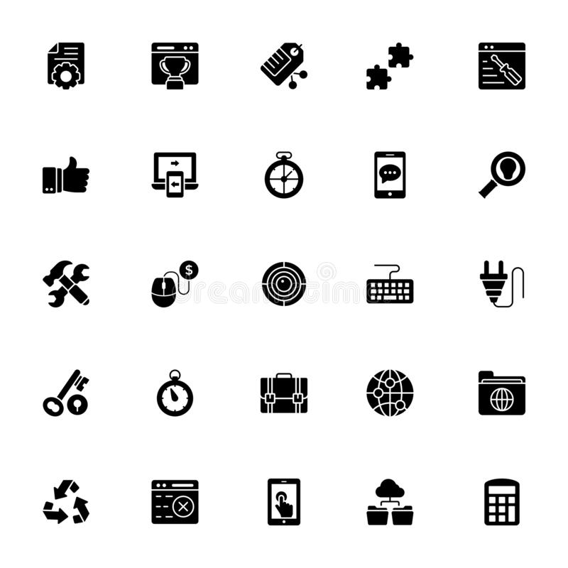 Sieć i Seo ikony Ustawiać ilustracja wektor