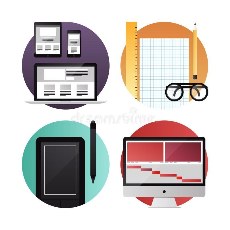 Sieć i wideo projekta mieszkania ikony ilustracja wektor