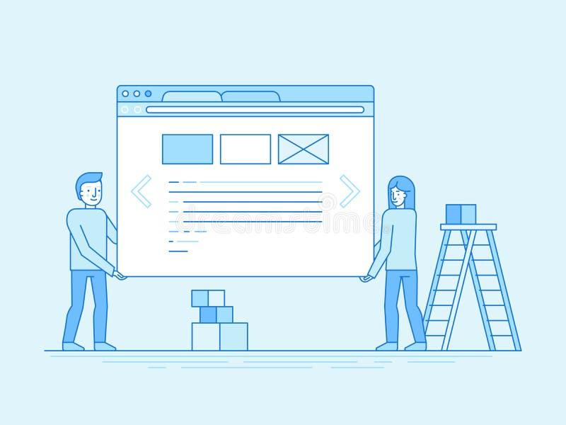 Sieć interfejsu użytkownika i projekta rozwoju pojęcie ilustracji