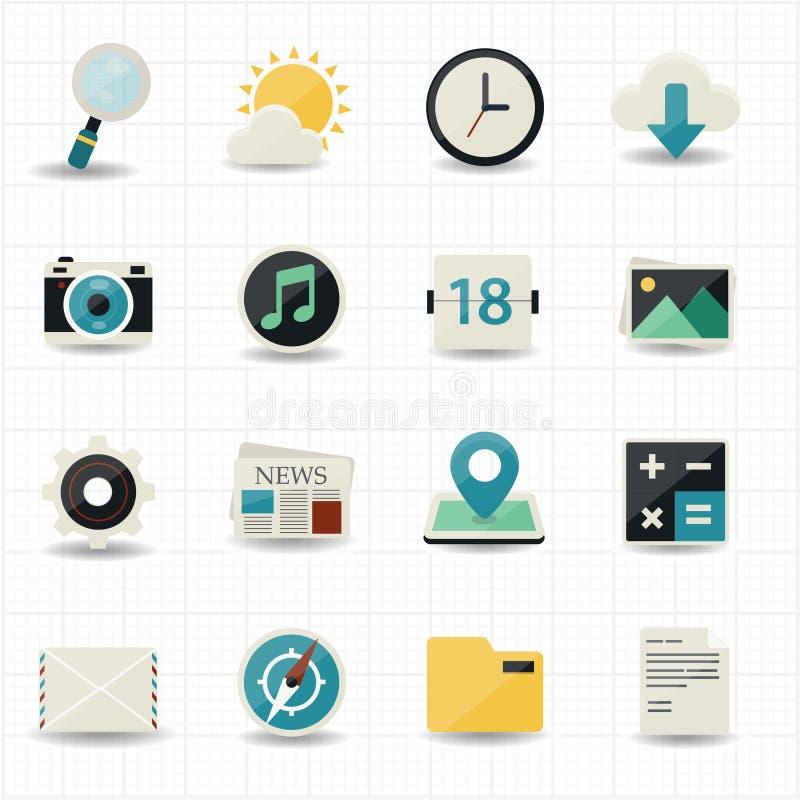Sieć interneta ikony i mobilne ikony royalty ilustracja