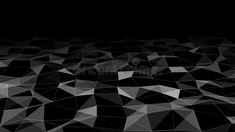 Sieć jasno połączonych punktów i linii. Fala gradientu. Abstrakcyjne tło cyfrowe. Futurystyczna ilustracja wektora ilustracji