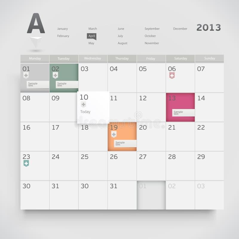 Sieć kalendarz ilustracja wektor