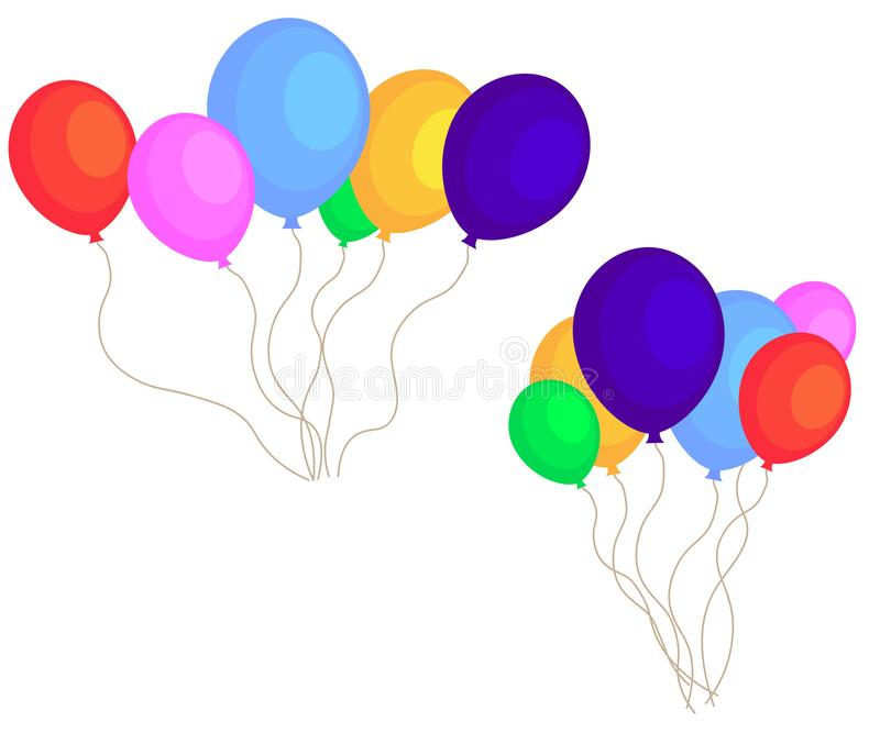 Sieć koloru Glansowani balony Ustawiają odosobnionego na bielu w Wektorowej ilustracji ilustracja wektor