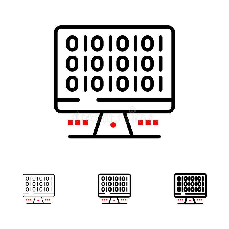Sieć, komputer, Obliczać, serweru czerni linii ikony set, Śmiały i cienki royalty ilustracja