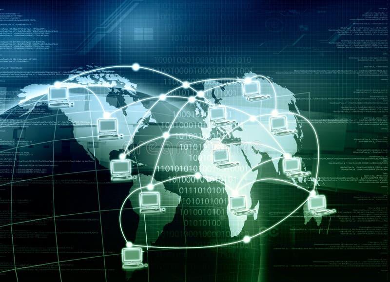 sieć komputerowa na całym świecie ilustracji