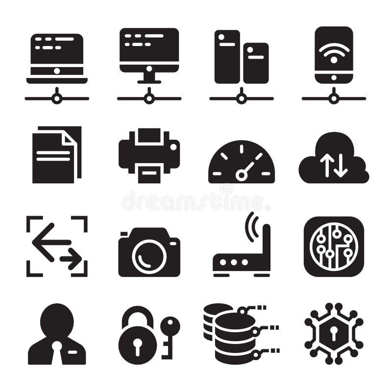 Sieć komputerowa przyrząd & dane komunikacja ikony set ilustracja wektor