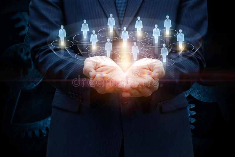 Sieć konsumenci w rękach zdjęcia royalty free