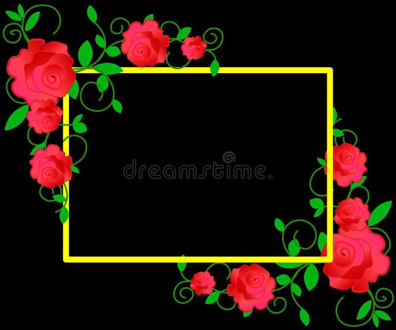 Sieć Kwiecista rama z różowymi różami i dekoracyjnymi liśćmi Tło save datę Kartki z pozdrowieniami z różowymi kwiatami ilustracja wektor