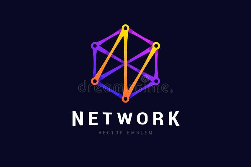 Sieć logo z podłączeniowymi liniami ilustracji