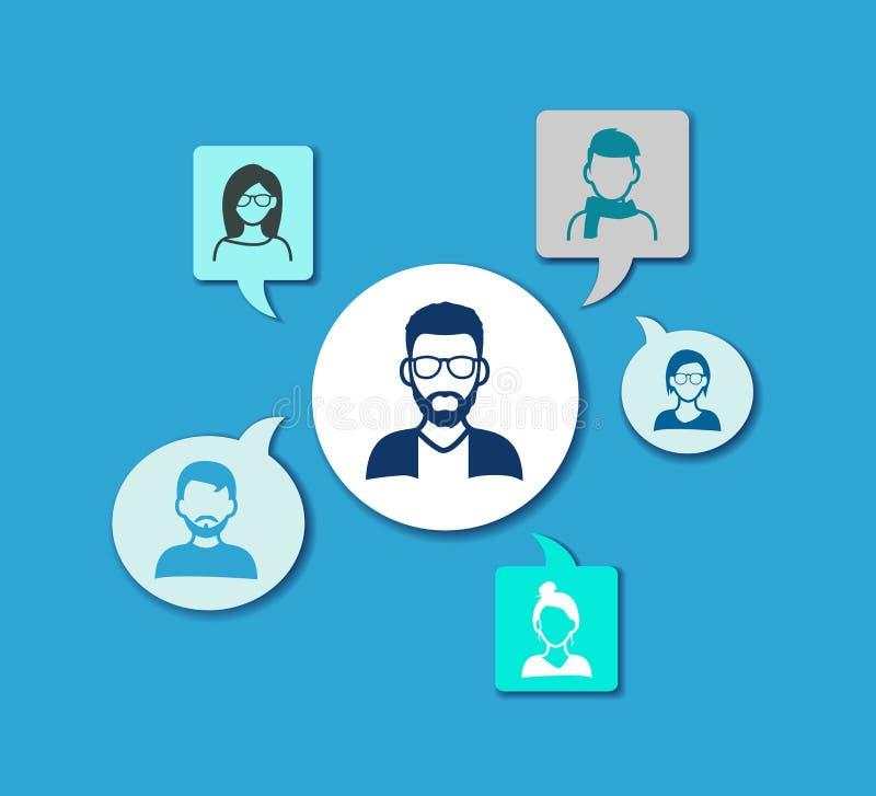 Sieć ludzie wektorowa ilustracja - ogólnospołeczna sieci, pracy zespołowej, grupy komunikacja/- ilustracja wektor