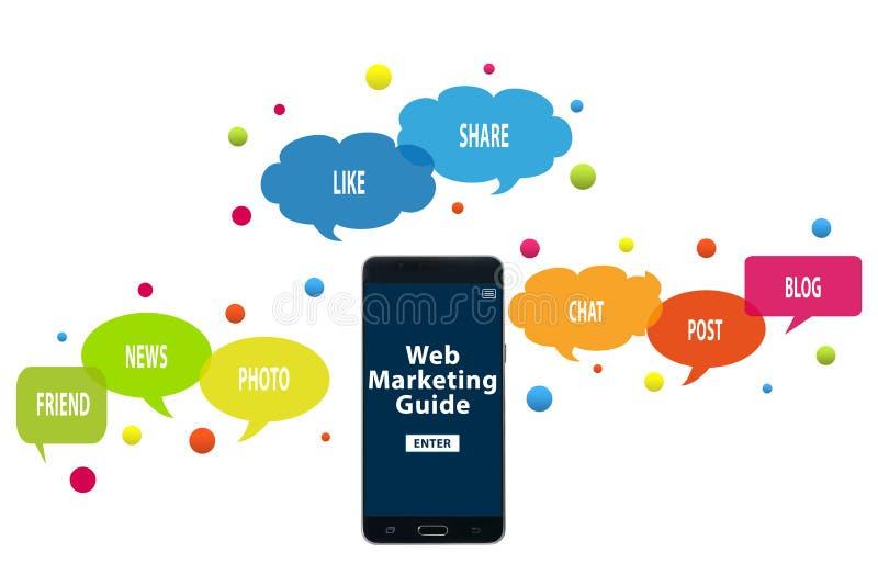 Sieć marketingowy przewdonik na telefonie komórkowym Online obecność i marketingowy pojęcie ilustracji