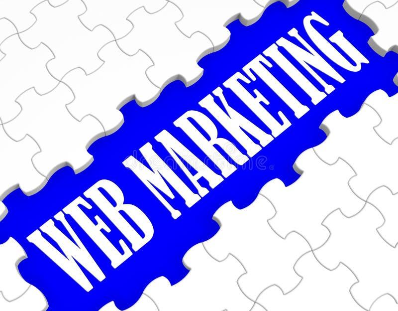 Sieć marketingu łamigłówka Pokazuje Internetowe sprzedaże ilustracja wektor
