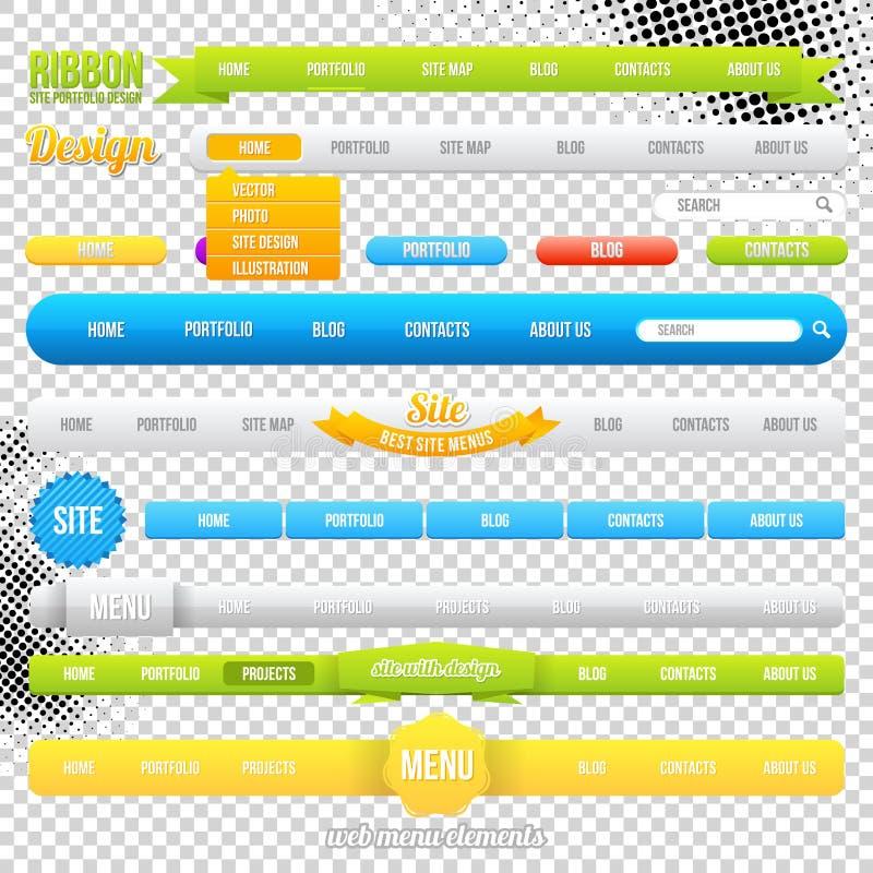 Sieć menu elementu szablony ilustracja wektor