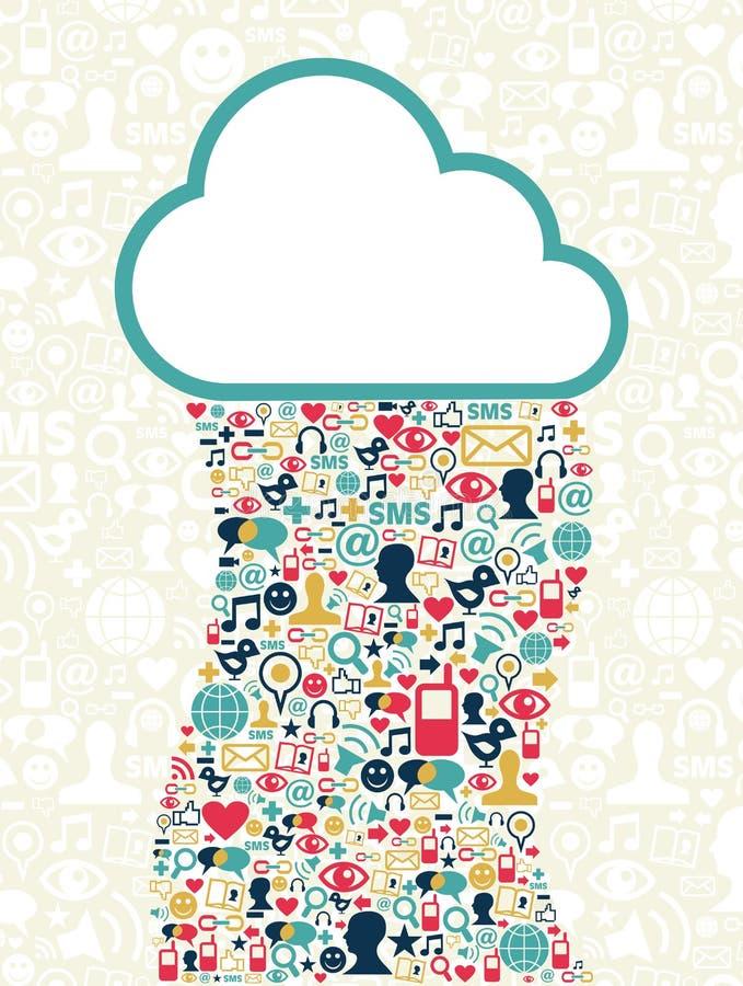 sieć obłoczny target4627_0_ medialny socjalny ilustracji