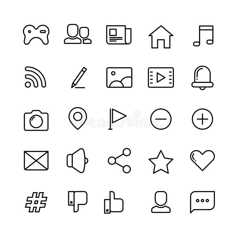 Sieć, ogólnospołeczna sieć, środki i komunikacj cienkie kreskowe wektorowe ikony, royalty ilustracja