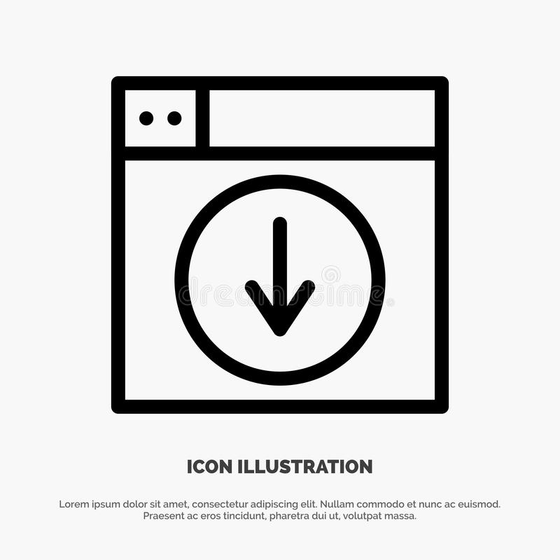 Sieć, projekt, ściąganie, puszek, zastosowanie ikony Kreskowy wektor ilustracji