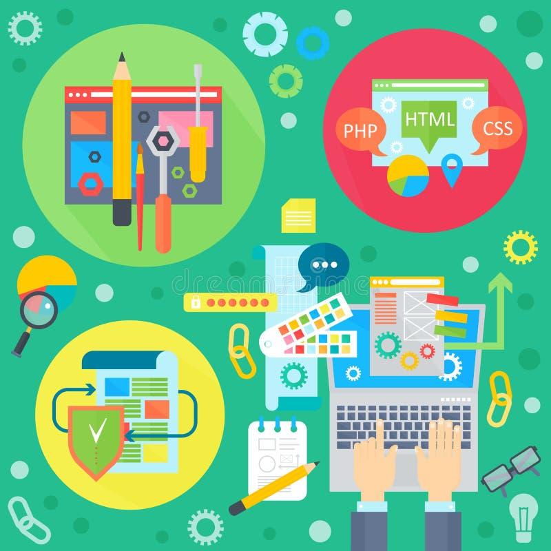 Sieć projekt i telefon komórkowy usługa apps mieszkania pojęcie Ikony dla sieć projekta, aplikacja sieciowa rozwój programy royalty ilustracja