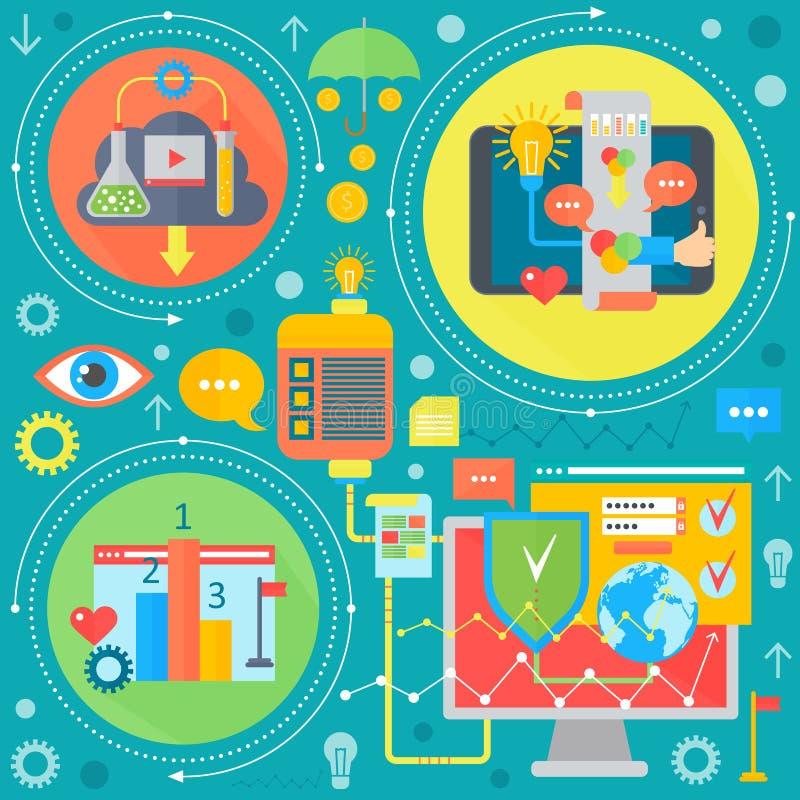 Sieć projekt i telefon komórkowy usługa apps mieszkania pojęcie Ikony dla sieć projekta, aplikacja sieciowa rozwój programy ilustracji