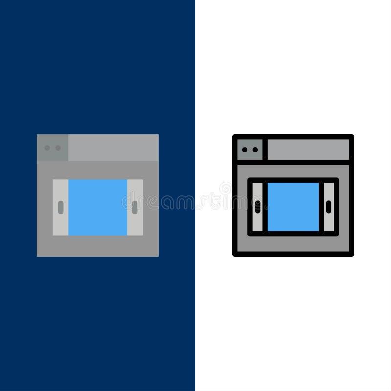 Sieć, projekt, Mobilne ikony Mieszkanie i linia Wypełniający ikony Ustalony Wektorowy Błękitny tło ilustracji