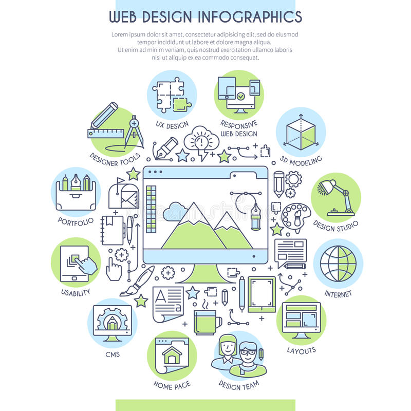 Sieć projekta infographics ilustracja wektor