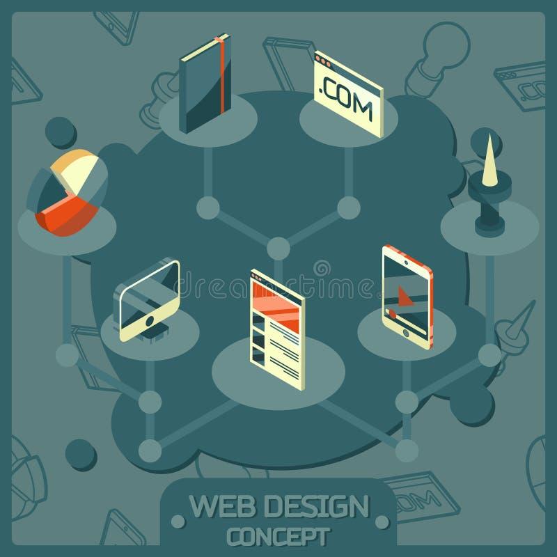 Sieć projekta koloru pojęcia isometric ikony ilustracja wektor