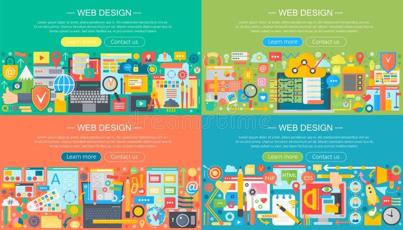 Sieć projekta pojęcia projekta horisontal płascy sztandary ustawiający Telefonów komórkowych apps usługi i apps, sieć projekt, za ilustracja wektor